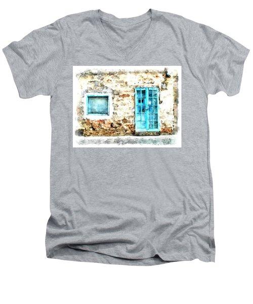 Arzachena Window And Blue Door Store Men's V-Neck T-Shirt