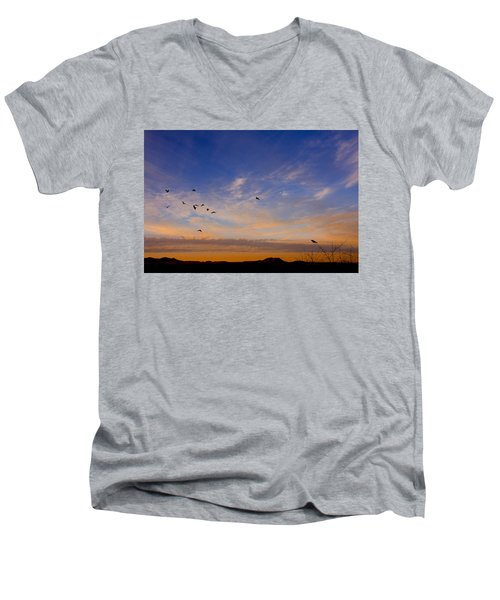 Men's V-Neck T-Shirt featuring the photograph As Night Falls by Barbara Manis