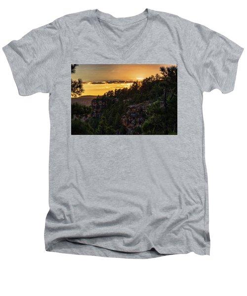 Men's V-Neck T-Shirt featuring the photograph As The Sun Sets On The Rim  by Saija Lehtonen