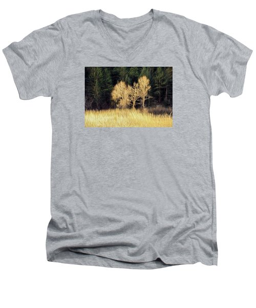 Men's V-Neck T-Shirt featuring the photograph As The Sunset's by James Steele