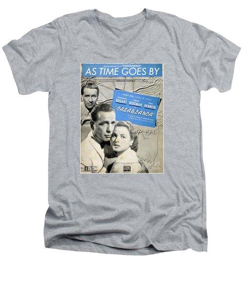 As Time Goes By Sheet Music Men's V-Neck T-Shirt by Barbie Corbett-Newmin