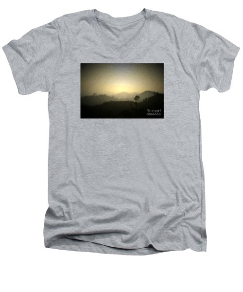 Ascend The Hill Of The Lord - Digital Paint Effect Men's V-Neck T-Shirt by Sharon Soberon
