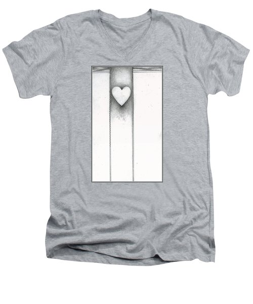 Men's V-Neck T-Shirt featuring the drawing Ascending Heart by James Lanigan Thompson MFA