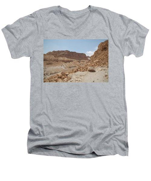 Ascension To Masada - Judean Desert, Israel Men's V-Neck T-Shirt by Yoel Koskas