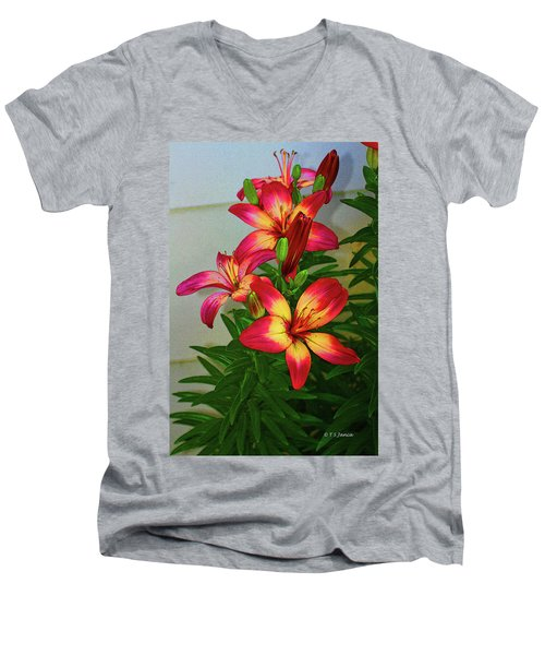 Asian Lilly Spring Time Men's V-Neck T-Shirt