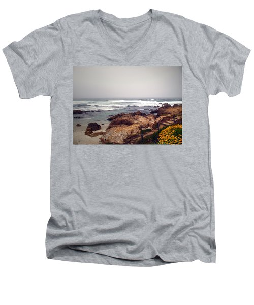 Asilomar Beach Pacific Grove Ca Usa Men's V-Neck T-Shirt by Joyce Dickens