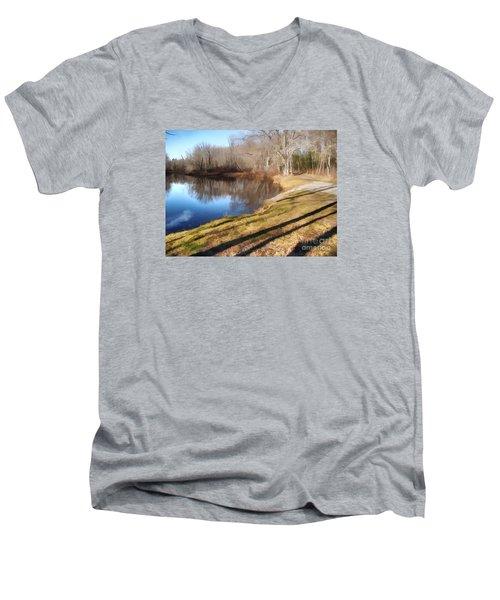 Aslant Men's V-Neck T-Shirt by Betsy Zimmerli