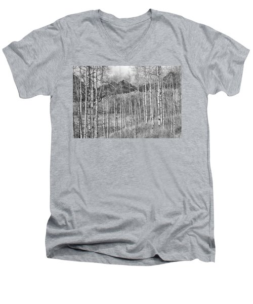 Men's V-Neck T-Shirt featuring the photograph Aspen Ambience Monochrome by Eric Glaser
