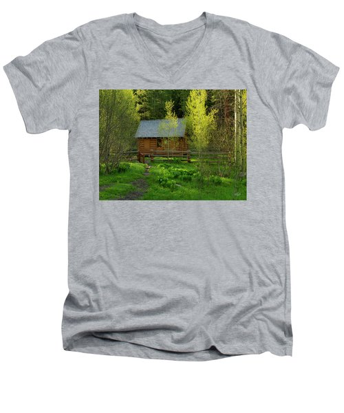 Men's V-Neck T-Shirt featuring the photograph Aspen Cabin by Leland D Howard