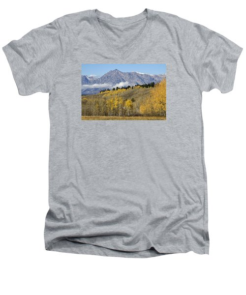 Men's V-Neck T-Shirt featuring the photograph Aspen Colours by Shirley Mitchell