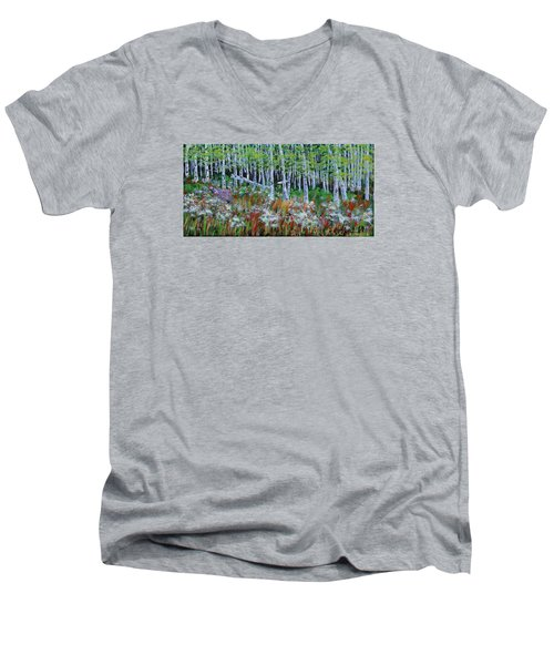 Aspens And Wildflowers Men's V-Neck T-Shirt by Mike Caitham