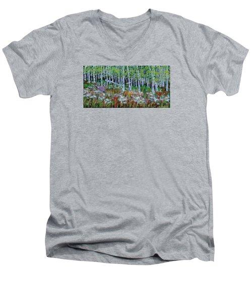 Aspens And Wildflowers Men's V-Neck T-Shirt