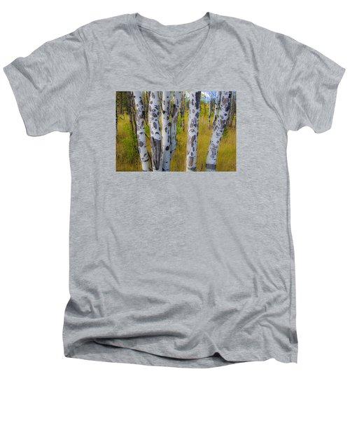 Men's V-Neck T-Shirt featuring the photograph Aspens by Gary Lengyel