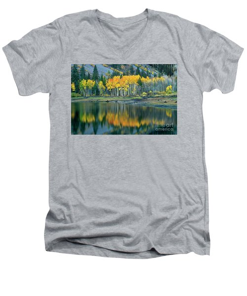 Men's V-Neck T-Shirt featuring the photograph Aspens In Fall Color Along Lundy Lake Eastern Sierras California by Dave Welling