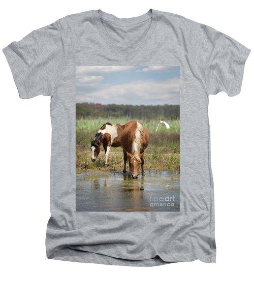 Assateague Pony Pair Men's V-Neck T-Shirt
