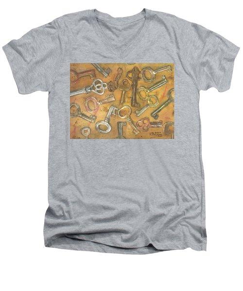 Assorted Skeleton Keys Men's V-Neck T-Shirt