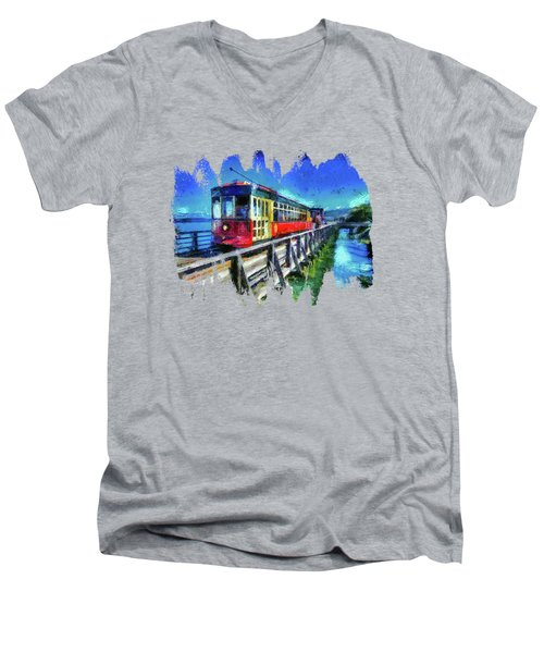 Astoria Riverfront Trolley Men's V-Neck T-Shirt