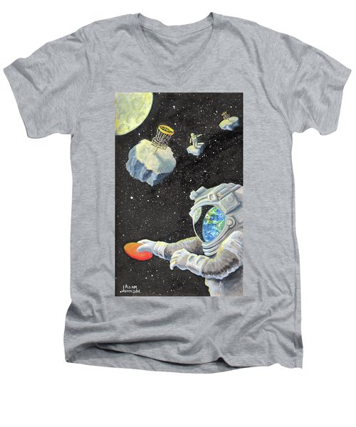 Astronaut Disc Golf Men's V-Neck T-Shirt