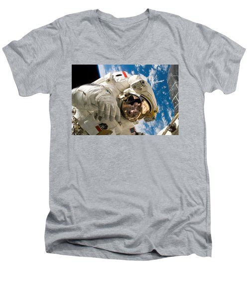Astronaut During The Third Spacewalk Of Sts-121 Men's V-Neck T-Shirt
