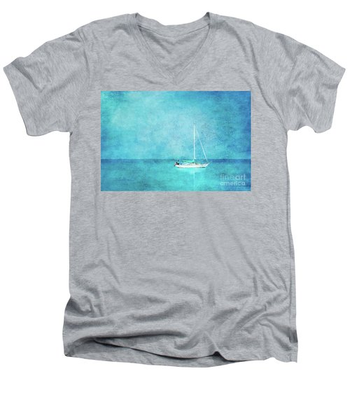 Men's V-Neck T-Shirt featuring the mixed media At Anchor by Betty LaRue