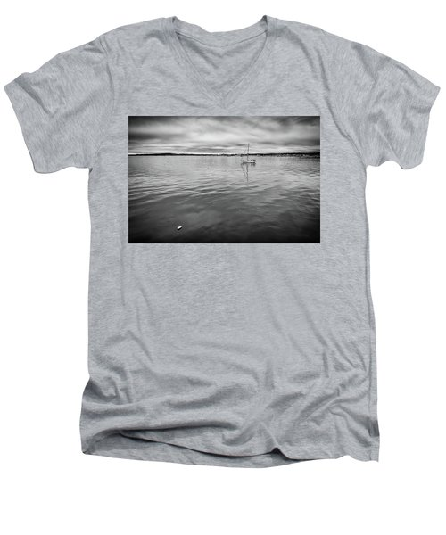 Men's V-Neck T-Shirt featuring the photograph At Anchor In The Harbor by Rick Berk