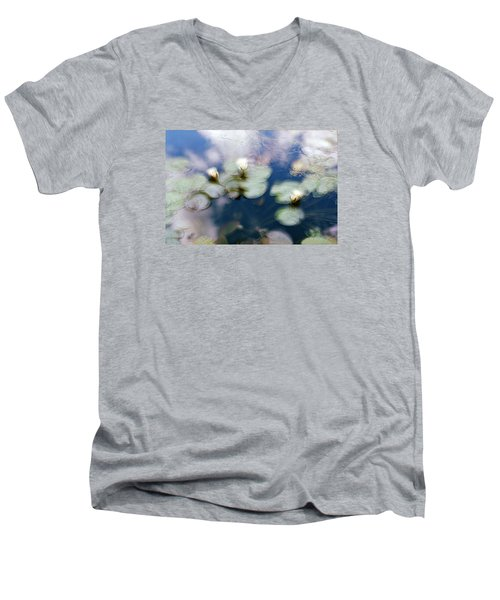Men's V-Neck T-Shirt featuring the photograph At Claude Monet's Water Garden 4 by Dubi Roman