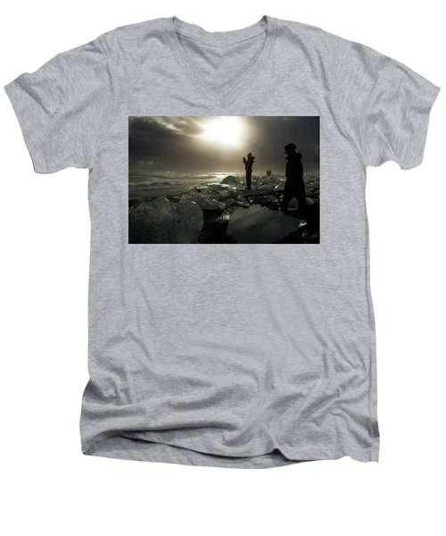 The Diamond Beach, Jokulsarlon, Iceland Men's V-Neck T-Shirt