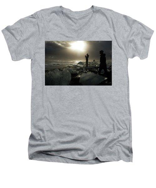 Men's V-Neck T-Shirt featuring the photograph The Diamond Beach, Jokulsarlon, Iceland by Dubi Roman