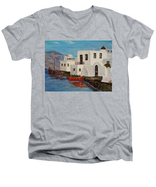Men's V-Neck T-Shirt featuring the painting At Home In Greece by Marilyn  McNish