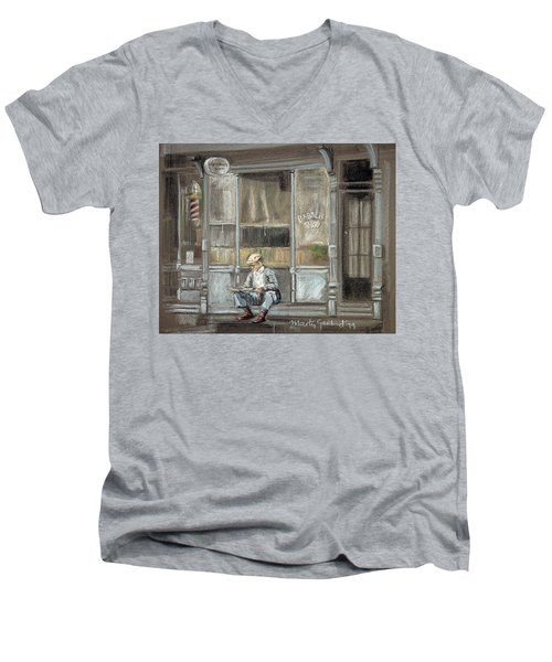 At The Barber Shop Men's V-Neck T-Shirt by Marty Garland