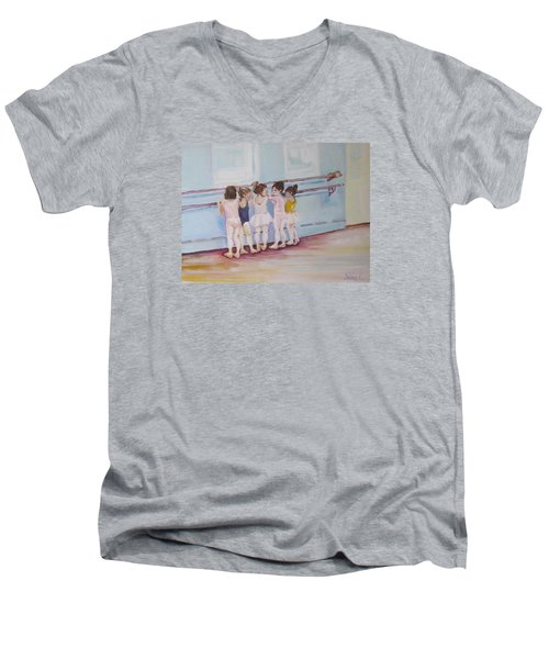 At The Barre Men's V-Neck T-Shirt by Julie Todd-Cundiff