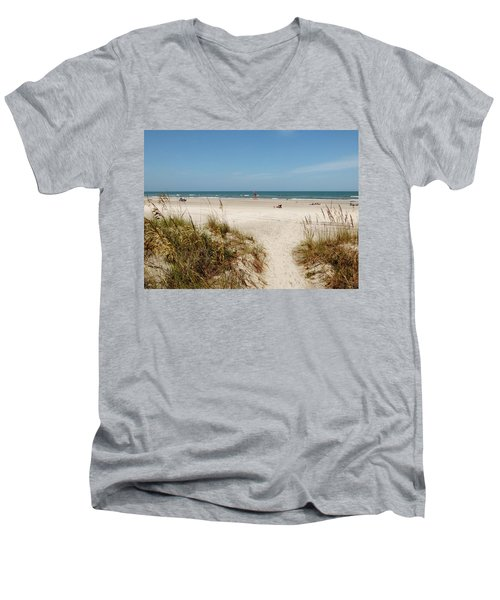 On The Beach Men's V-Neck T-Shirt by Amar Sheow