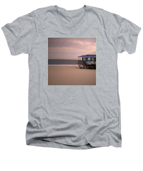 Men's V-Neck T-Shirt featuring the photograph At The Beach by Desline Vitto