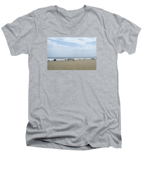 At The Beach Men's V-Neck T-Shirt by Heidi Poulin