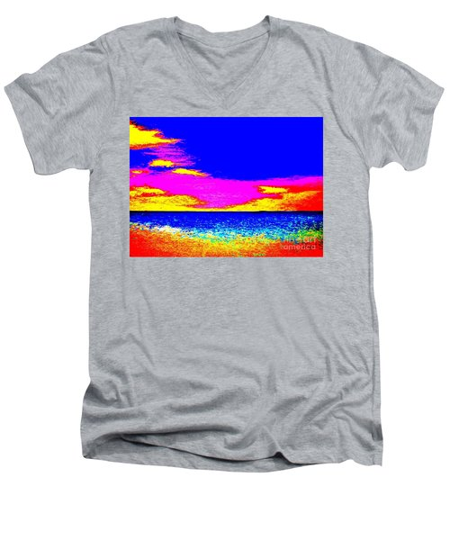 At The Beach Men's V-Neck T-Shirt by Tim Townsend