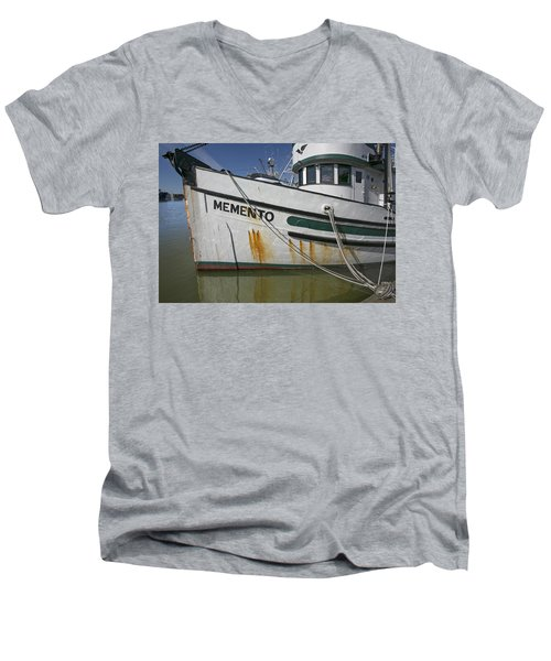 Men's V-Neck T-Shirt featuring the photograph At The Dock by Elvira Butler