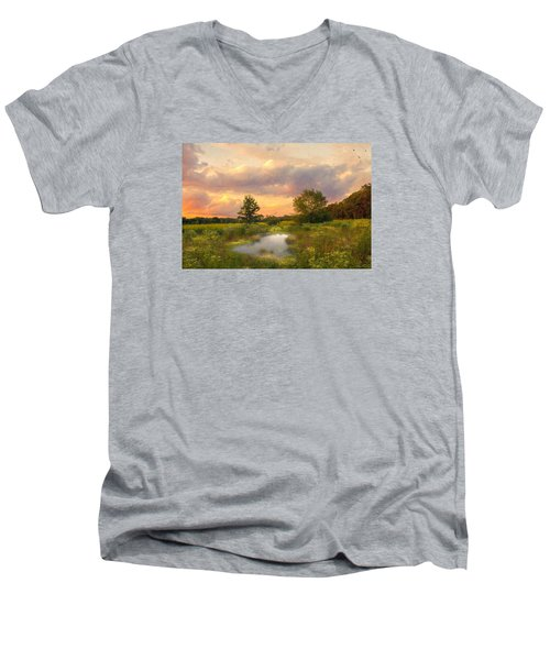 Men's V-Neck T-Shirt featuring the photograph At The End Of The Day by John Rivera