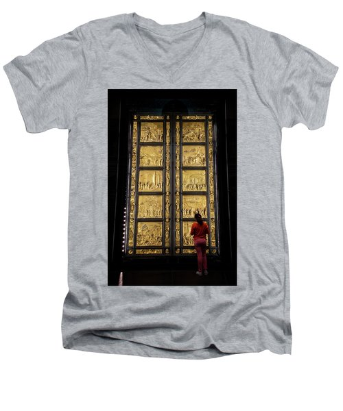 Men's V-Neck T-Shirt featuring the photograph At The Gates Of Paradise by Joan Carroll