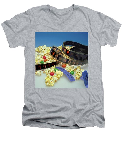 At The Movies  Men's V-Neck T-Shirt by Marie Hicks