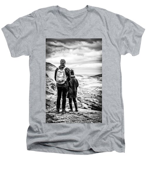 Men's V-Neck T-Shirt featuring the photograph On The Edge by Nick Bywater