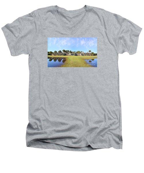 Atalaya Castle At Huntington Men's V-Neck T-Shirt by Kathy Baccari