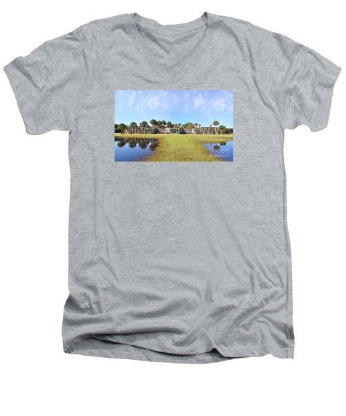 Atalaya Castle At Huntington Men's V-Neck T-Shirt