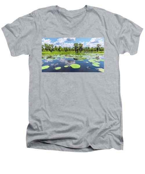 Atchaflaya Basin Reflection Pool Men's V-Neck T-Shirt by Andy Crawford