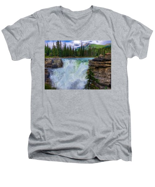 Athabasca Falls, Ab  Men's V-Neck T-Shirt by Heather Vopni