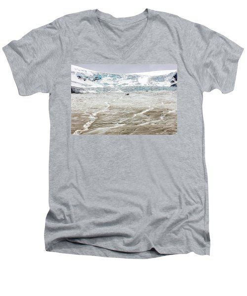 Athabasca Glacier With Guided Expedition Men's V-Neck T-Shirt by Pierre Leclerc Photography