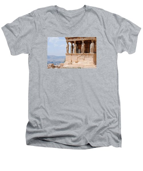 Men's V-Neck T-Shirt featuring the photograph Erecthion by Robert Moss