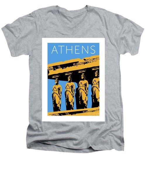 Athens Erechtheum Blue Men's V-Neck T-Shirt