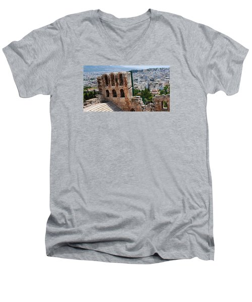Men's V-Neck T-Shirt featuring the photograph Athens From Acropolis II by Robert Moss