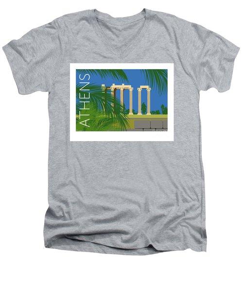 Athens Temple Of Olympian Zeus - Blue Men's V-Neck T-Shirt