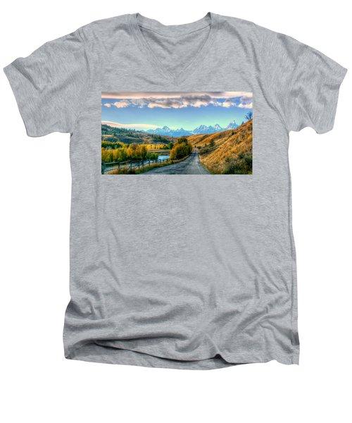 Atherton View Of Tetons Men's V-Neck T-Shirt